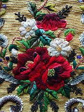 """Antique Beadwork Embroidered 18"""" X 15"""" ROSES & FORGET-ME-KNOT Face Shield Panel"""