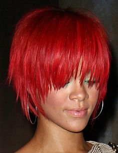 Rihanna short red hairstyle