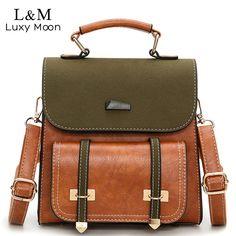 b4e8f0de18a2 Luxy moon Women Bag Retro Brown Backpack PU Leather Shoulder Bag Female For  Teenage Girls School Bags Fashion Backpacks