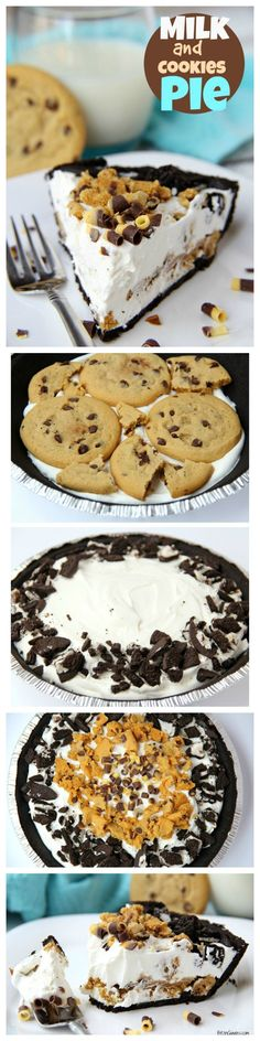 Milk and Cookies Pie - A five-ingredient no-bake pie loaded with chewy chocolate chip cookies, cream and Oreos! Comes together in minutes! (oreo desserts no bake)