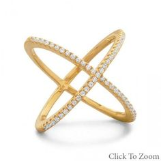 18 Karat Gold Plated Criss Cross 'X' Ring with Signity CZs from Bonita Moda Boutique