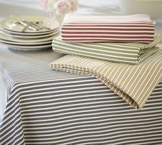 Thatcher Ticking Stripe Tablecloth | Pottery Barn