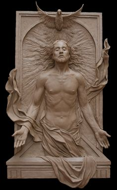 The polychromed sculpture bas-relief depicts Christ's Resurrection.