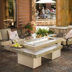 Lovely The Outdoor GreatRoom Company Uptown Crystal Fire Pit Table With Tile Top  And Burner