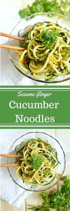 Raw Sesame Ginger Cucumber Noodles- GF and DF naturally! | savoringsimple.com