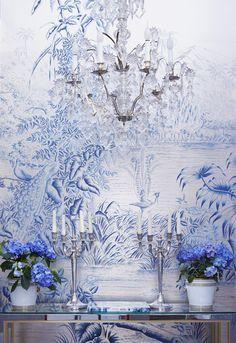 'Le Bresil' design in Mer Bleue design colours | de Gournay