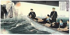 Japanese woodblock illustration of a Naval Battle - Russo-Japanese War, 1904, By Toshihide Migita 1863-1925.