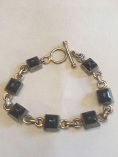 SILPADA Sterling Silver & Black Onyx Rectangular Square Link Bracelet ~ Retired  | eBay