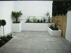 Rendered concrete block planters, sawn and sand blasted grey sandstone - outdoor colour