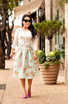 cute & little blog | petite fashion | embellished jeweled sweater, mint butterfly spring floral skirt, minkoff blush pink quartz love crossbody, shoedazzle pink darlene pumps | spring outfit