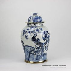 Gold plated line hand paint floral bird pattern blue and white ceramic ginger jar furniture