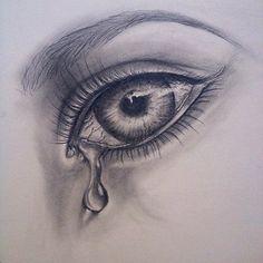 Crying Eye Drawing, Girl Eyes Drawing, Cry Drawing, Drawing Faces, Figure Drawing, Pencil Art Drawings, Art Drawings Sketches, Creepy Sketches, Eye Pencil Drawing