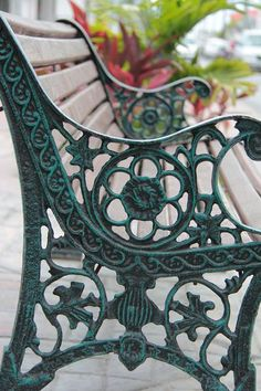 Iron bench. Like this shade of green on this bench.