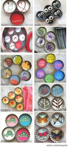 crafty bottle caps... could make cool knobs for furniture from something like this... Bottle Top Art, Bottle Top Crafts, Bottle Cap Projects, Diy Bottle, Bottle Cap Bracelet, Bottle Cap Jewelry, Bottle Cap Magnets, Bottle Caps, Paper Wrapping