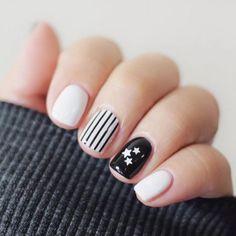 white & black  #white #black #amazing #nails #beauty #manicure