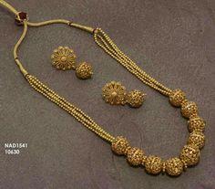 Mala   1gm jewellery   Buy online   Neha's jewellery 9703870603 Gold Rings Jewelry, Gold Jewellery Design, Simple Jewelry, Indian Wedding Jewelry, Bridal Jewelry, Diamond Mangalsutra, India Jewelry, Gold Set, Jewelry Patterns