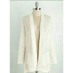 White Knit Comfortable Sweater Worn once for a short time. Brand new condition. ModCloth Sweaters Cardigans