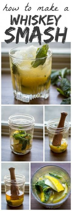 Tart lemons and fresh mint are muddled with sugar to form the base of this classic Whiskey Smash. Think you don't like whiskey? Think again!