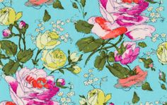 Laminated Cotton Fabric  Sketchbook Roses in by oilclothaddict