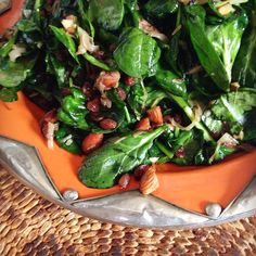 Spinach leaves just warm and still crunchy. #salad #vegan #organic #local