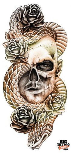 skull snake tattoo - This would look kool with a woman day of the dead styles face