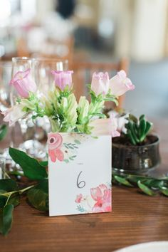 Chic floral-printed table number: http://www.stylemepretty.com/2015/08/13/rustic-elegant-spring-wedding-at-early-mountain-vineyards/ | Photography: Abby Grace http://abbygracephotography.com/
