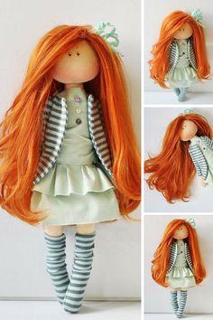 Fabric doll Lady doll Textile doll Rag doll by AnnKirillartPlace Rag Dolls