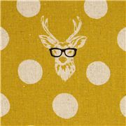 echino canvas fabric Buck stag with glasses chartreuse