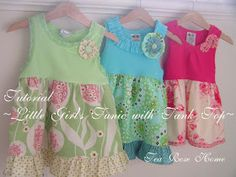 Tea Rose Home: Tutorial ~Little Girl's Tunic with Tank Top~ Could Easily Do This With TShirt As Well