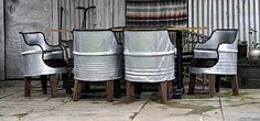 galvanized barrels into chairs :)