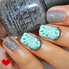 heartnat: OPI My Dogsled is a Hybrid & MoYou London Bridal 07 Fabulous Nails, Gorgeous Nails, Pretty Nails, Nail Art 2015, Hair And Nails, My Nails, Lace Nails, Glitter Nails, Opi Nail Colors