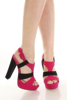 $16... bachlorette party? Fuchsia Faux Suede Colorblock T Strappy Front Platform Heels