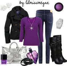 """Black, Silver & Purple"" by lilmissmegan on Polyvore"