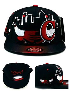 026dbcdc0f8 Chicago New Leader Bull Head Skyline Bulls Colors Black Red Era Snapback Hat