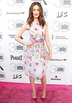 Pretty as a posie! Emmy Rossum worked a floral-embellished dress and magenta heels at the 2015 Independent Spirit Awards in Santa Monica.
