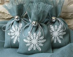 Reserved Listing for Shannon. Burlap Gift Bags Set by FourRDesigns