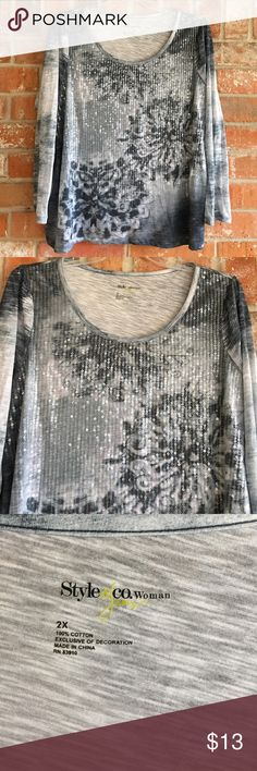 """Beautiful Top By Style & Co Plus Size 2X This top is in great condition. No rips stains or tears. It is lightweight and so pretty! It measures 25"""" underarm to underarm and is 27"""" long💕 Style & Co Tops Blouses"""