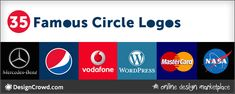 Circles are a common theme in logo design. Checkout these 35 famous logos including Pinterest, Nivea, Mercedes, and more  that use circles. Famous Logos, Circle Logos, Logo Design, Circles, 2d, Shapes