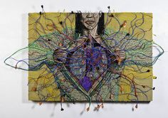 Connected with the Heart (2014) by Federico Uribe - Adelson Galleries  #adelsongalleries #federicouribe #contemporaryart #latinamericanartist #electriccables #foundobjects #heart #miami