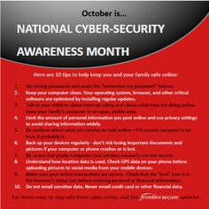 October is National Cyber Security Awareness month. #NCSAM