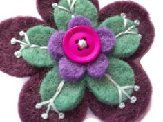 Aubergine Wool Felt Flower Brooch -  Embroidered - Felt Flowers - Upcycled -  UK £5.00