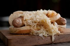 Ethan Stowell's Cheddar Bratwurst – Carlton Farms cheddar bratwurst, Sagelands Washington Riesling sauerkraut, on a Pioneer bun. Available at Double Play Sausage + Chicken (sections 136 + 340).