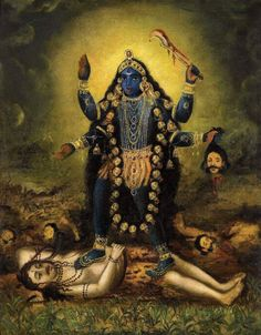 Kali with Shiva prostrate beneath her feet. The early Bengal works of this period were an amalgam of the miniature tradition and the European use of oil and perspective. Kali Hindu, Hindu Art, Shiva Art, Shiva Shakti, Om Namah Shivaya, Mother Kali, Divine Mother, Kali Picture, Maa Kali Images
