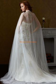 Eden A-linie Besondere Ausgefallene Brautkleider aus Softnetz mit Schleppe