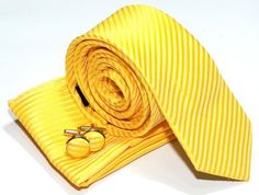 Premium Woven Skinny Tie with Stripe Textured with matching Handkerchief / Hanky and Cufflinks, Gift Box Set as Christmas Gift, Birthday Gift - Bright Yellow Retreez, http://www.amazon.com/dp/B00936V8QM/ref=cm_sw_r_pi_dp_TOW9qb00424ZF