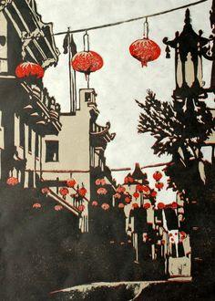 """""""Chinatown"""" linocut by Lisa VanMeter. http://www.lisavanmeter.com/ Tags: Linocut, Cut, Print, Linoleum, Lino, Carving, Block, Woodcut, Helen Elstone, Buildings, Chinese Lanterns."""