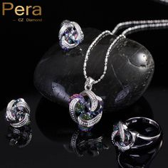 Fashion 925 Sterling Silver Women 3 Pcs Jewelry Gift Rainbow Mystic Crystal Stone Necklace And Earrings Sets For Girls J097