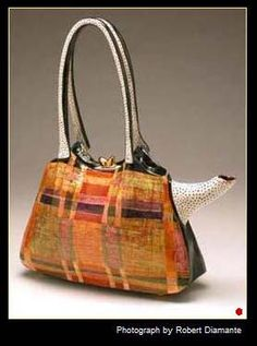 Polka-Dotted Plaid Pocket Purse is a ceramic teapot in the form of a plaid handbag.