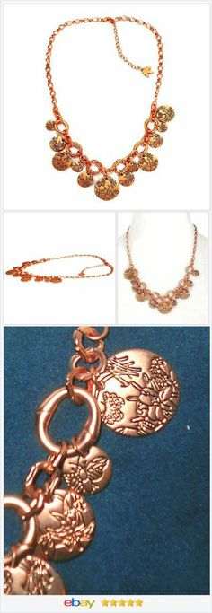 Rose tone Charm Necklace etched 20 to 23 inches long USA Seller #ebay http://stores.ebay.com/JEWELRY-AND-GIFTS-BY-ALICE-AND-ANN