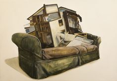 """""""Couch"""" Tapio Mömmö, oil on plywood, 100 x 70cm, 2014"""